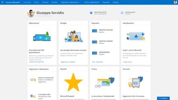 Pannello di gestione account Microsoft