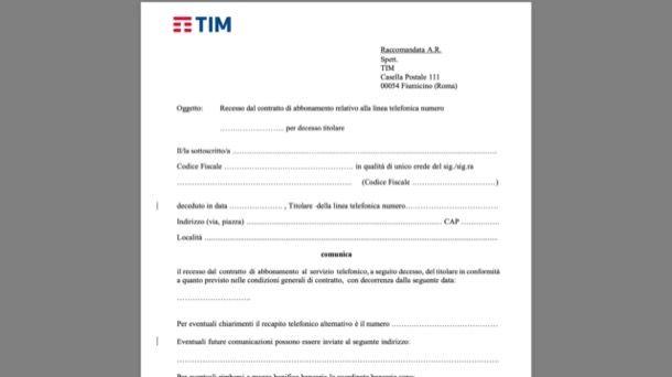 Disdetta TIM per decesso