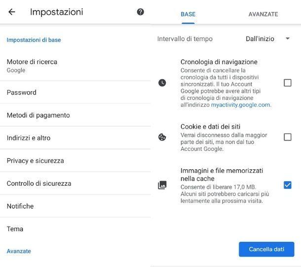 Eliminare cache Chrome Android