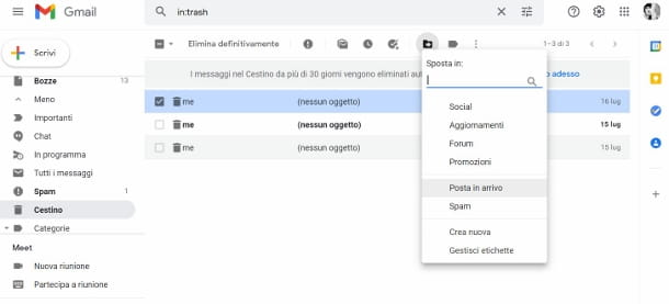 Recuperare email Gmail browser