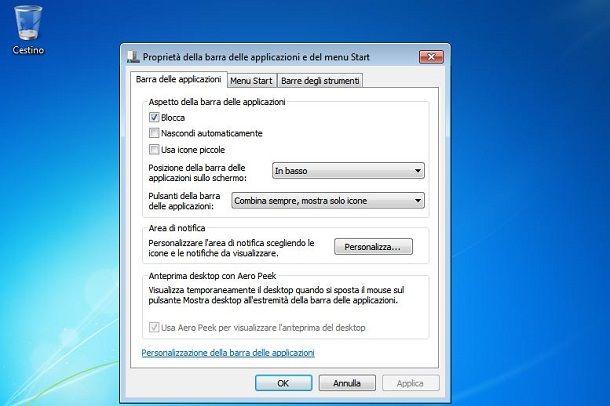 Barra applicazioni su Windows 7