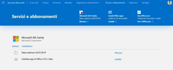 Pannello gestione abbonamenti Microsoft