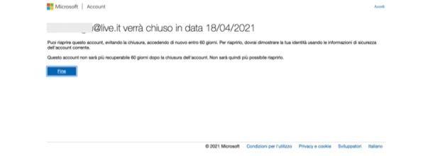 Eliminare account Microsoft