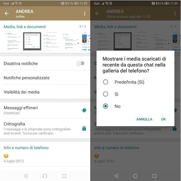 Come non salvare foto chat WhatsApp
