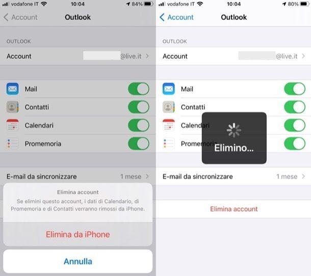 Eliminare account Microsoft da iPhone e iPad