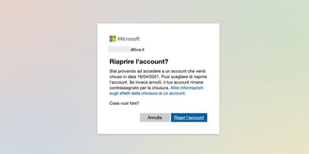 Riaprire account Microsoft
