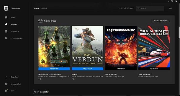 Epic Games Store giochi gratis per PC