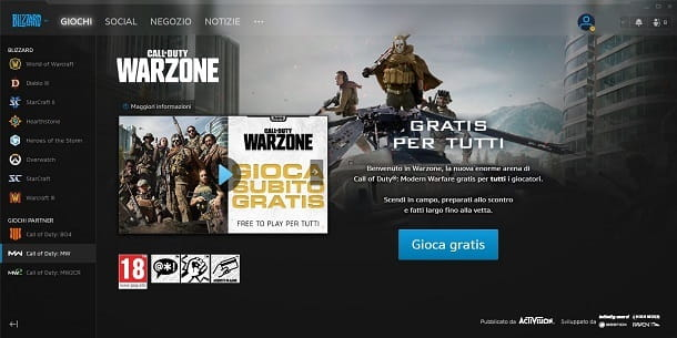 Battle Net COD Warzone Giochi gratis PC