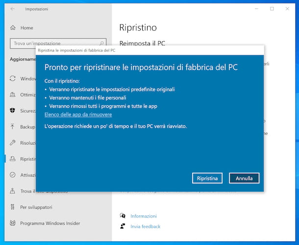 Reimpostare Windows 10
