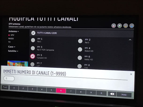 Come ordinare i canali TV: LG