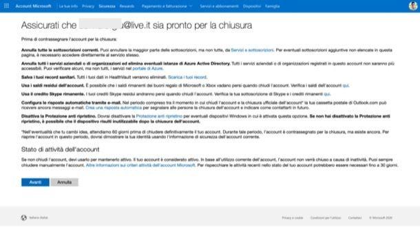 Selezionare le caselle per chiudere l'account Microsoft