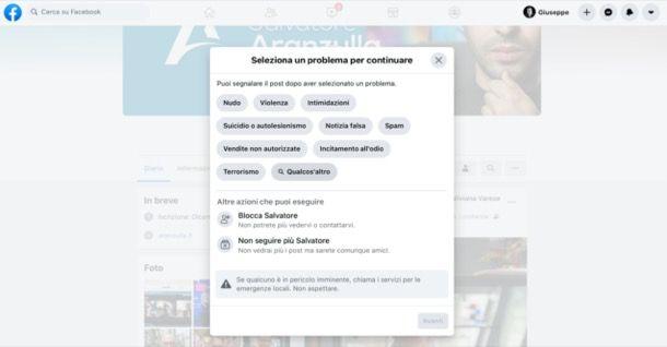 Segnalare contenuti su Facebook da PC