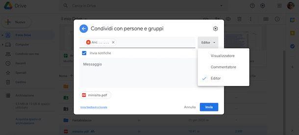 Condividere file su Google Drive