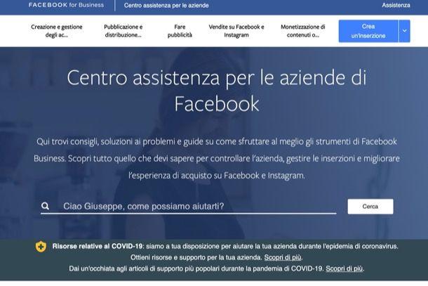 Centro assistenza per le aziende di Facebook