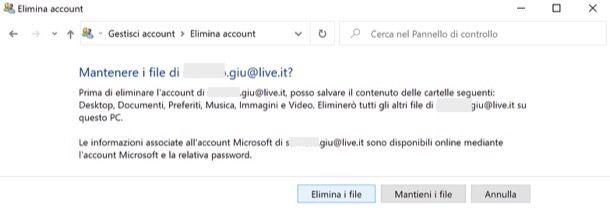 Eliminare account Microsoft da Windows