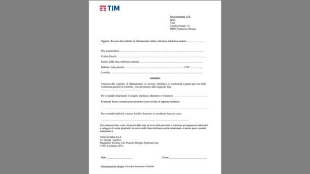 Modulo recesso cessazione linea TIM