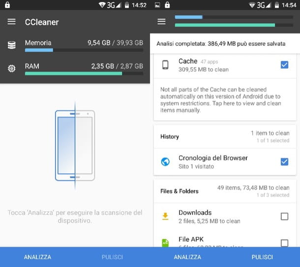 Come usare CCleaner per Android