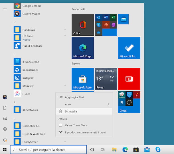Disinstallare programmi Windows 10
