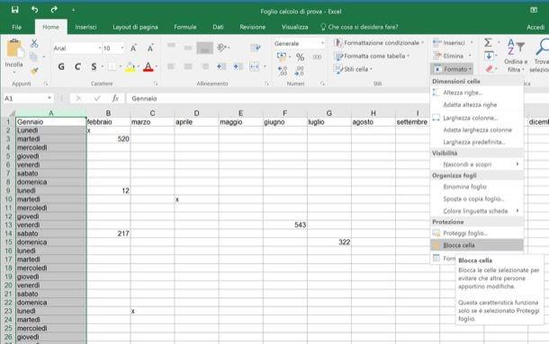 Come proteggere celle Excel
