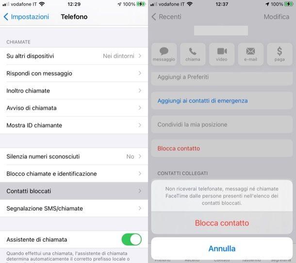 Bloccare contatti iPhone