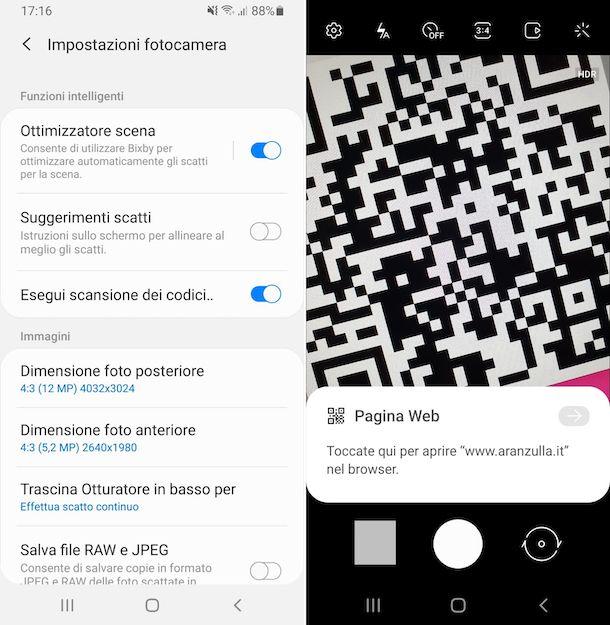 Funzione predefinita scansione codici QR Samsung