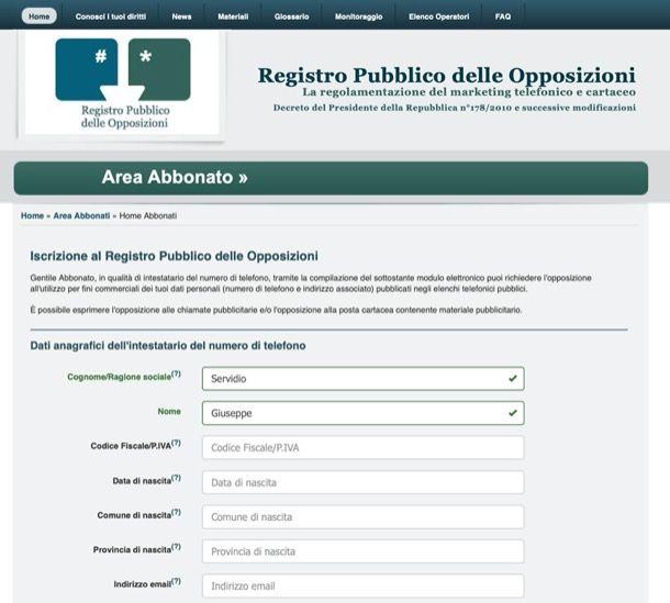 Registro pubblico opposizioni