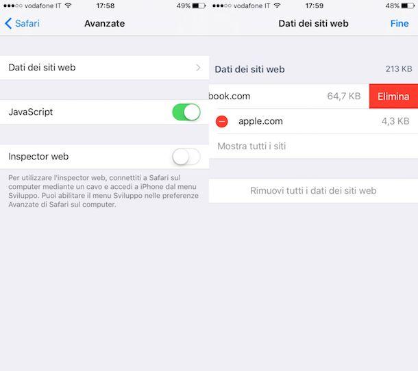Come svuotare cache iPhone