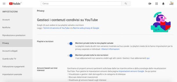 Modificare impostazioni privacy canale YouTube