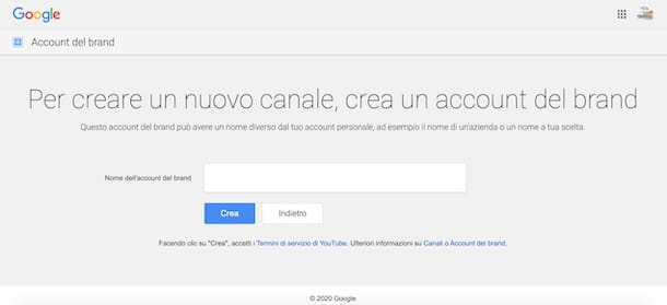 Creare account brand su YouTube