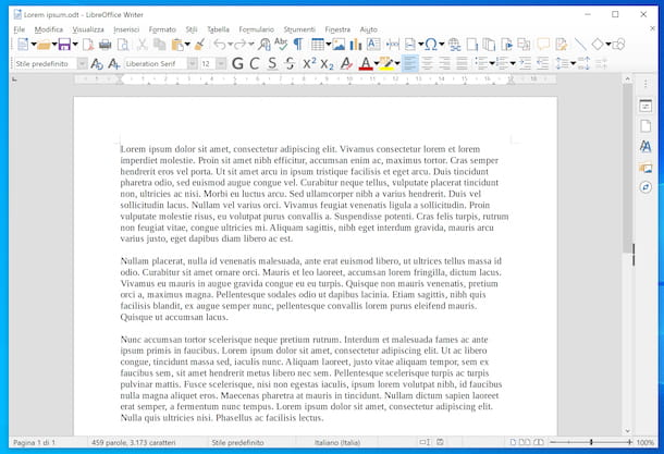 File ODT aperto in LibreOffice