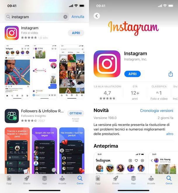 Aggiornare Instagram iPhone