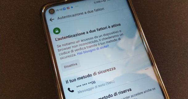 Autenticazione a due fattori Facebook app