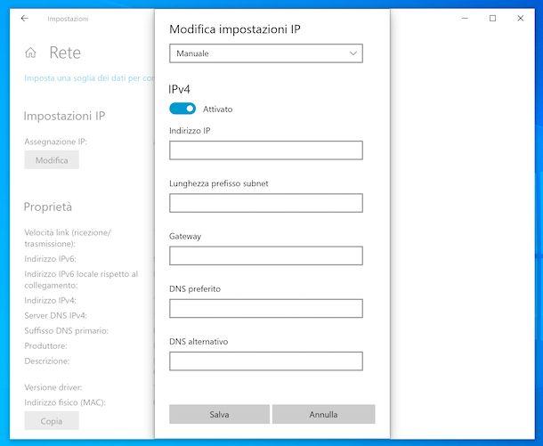 Cambiare indirizzo IP su Windows 10