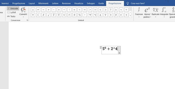 Come scrivere equazioni con potenze in Word