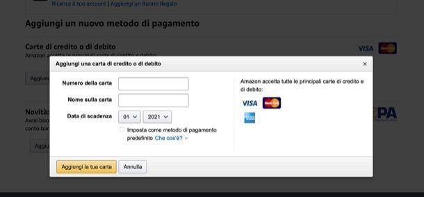 Modalità di pagamento Amazon