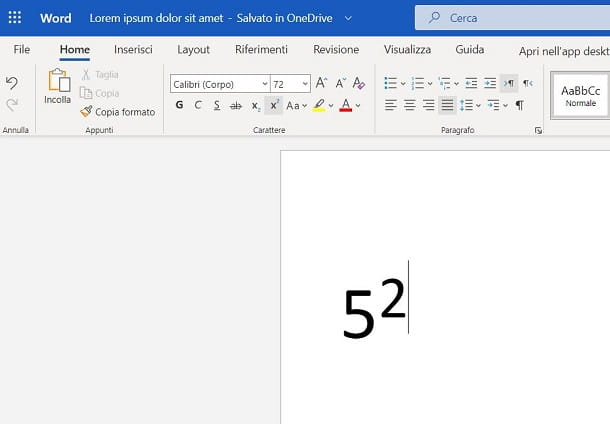 Come elevare a potenza in Word Online