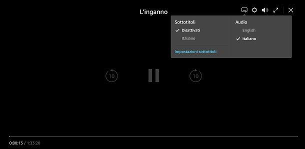 Controlli player Prime Video