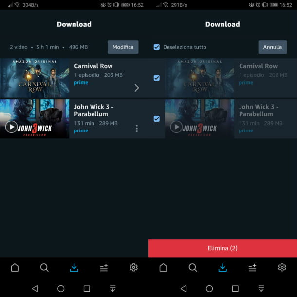 Gestione download app Prime Video