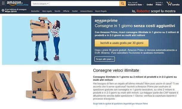 Iscrizione Amazon Prime