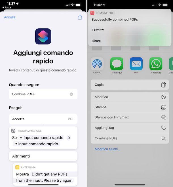 Combine PDFs Comandi iPhone