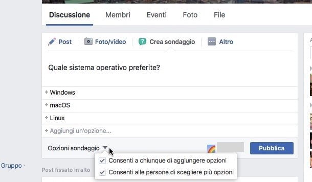 Come fare sondaggi su Facebook
