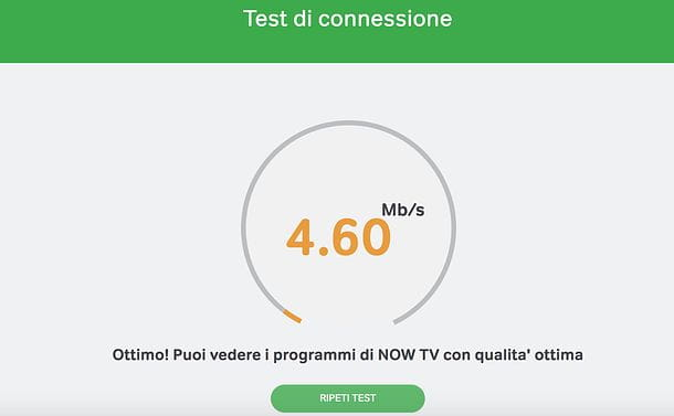 Test connessione NOW TV
