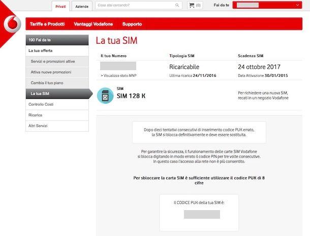 Come recuperare PUK Vodafone