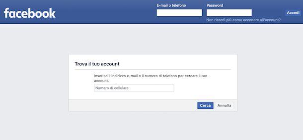 Recupero email Facebook