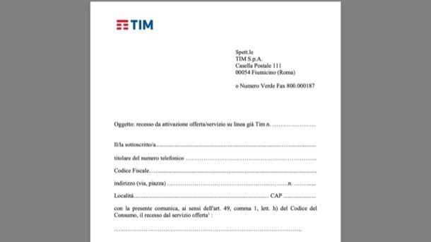 Disdetta TIM entro 14 giorni