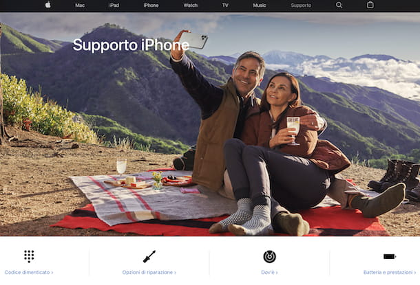 Supporto e assistenza iPhone