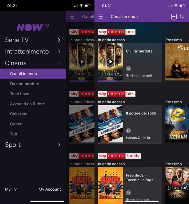 Canali app NOW TV