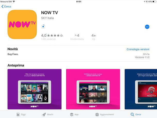 NOW TV app per iPad