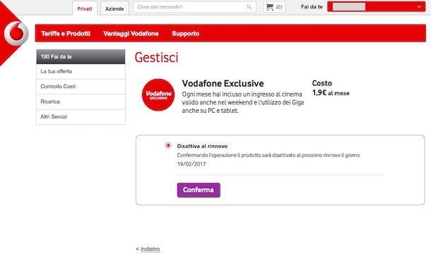 Come disattivare promo Vodafone