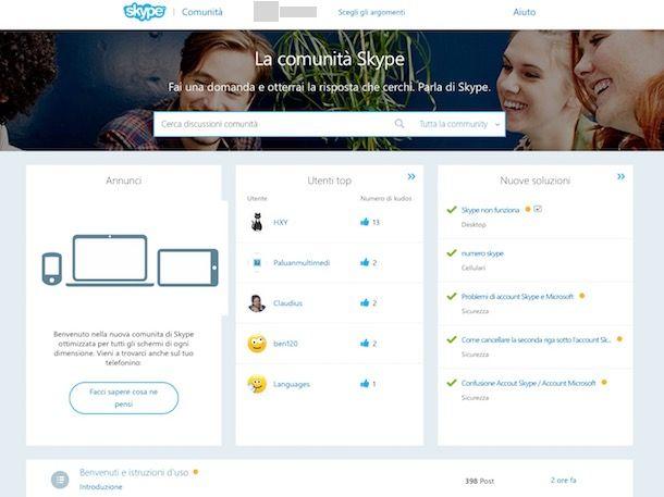 Come contattare Skype